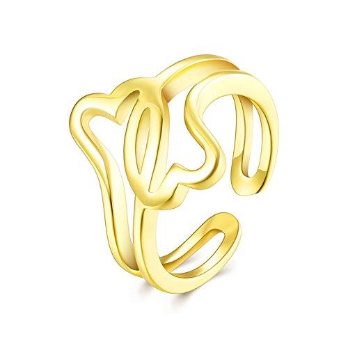 FJYOURIA Damen Offene Doppel Herz Form Daumen Ring verstellbar Hohe Poliert Forever Frauen Band Ring Size 54 (18 Karat (750) (Uk Ungewöhnlicher Schmuck Kostüm)
