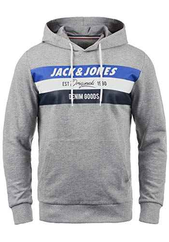JACK & JONES Sacho Herren Kapuzenpullover Hoodie Pullover Mit Kapuze Und Print, Größe:M, Farbe:Light Grey Melange