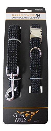 Lovely Harris tweed guinzaglio e collare set in nero, grigio e blu fleck- disponibile in 3taglie