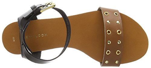 New Look Lea Eyelet- Sandali donna Marrone (Brown (18/Tan))