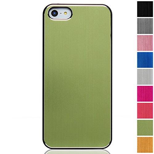 RE:CRON® Edles Handycase Case Hülle Aluminium braun für Apple Iphone 5, 5S Grün