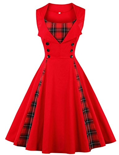 VKStar® Vintage 50er Jahre Rockabilly Kariertes Kleid Ärmellos Retro Swing Elegantes Abendkleid mit Knöpfe Rot-Kariert M
