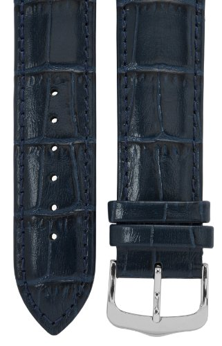 Uhrenarmband 18 mm Leder blau, Kroko-Optik, Länge 75x115mm, Aluminium-Dornschließe