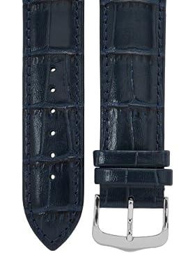 Uhrenarmband 21 mm Leder blau, Kroko-Optik, Länge 75x115mm, Aluminium-Dornschließe