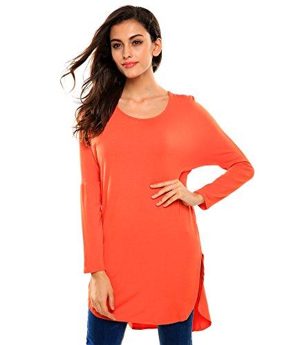Zearo Damen T-shirt Shirt Tops Langarm O-Ausschnitt Freizeit asymmetrischer Saum lose Basic Orange