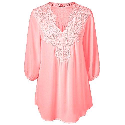 Cystyle Plus Size Blusen Damen Lockere Shirt V-Ausschnitt 3/4 Arm Shirt damen Oberteil mit Spitze Shirt Übergrößen Pink