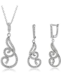 Shaze Jewellery Set for Women (Silver) (Swirl Set SLV 70215)