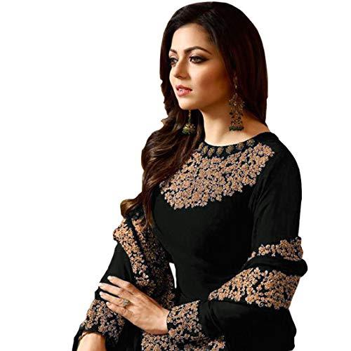 PristiveFashionHub Women's Codding Long Anarkali Gown With Duppta(Free Size) (Black)