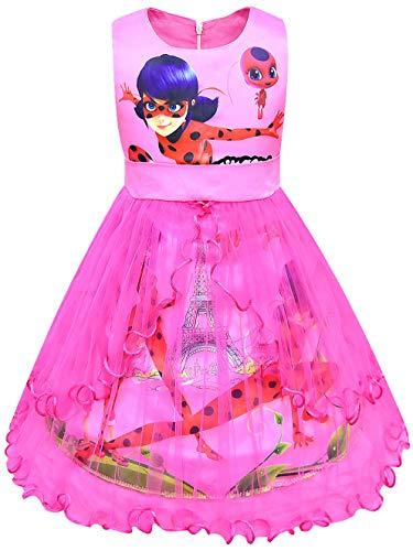 FStory&Winyee Miraculous Ladybug Mädchen Prinzessin Kleid Festlich Fasching Kostüm Sommerkleid Kinder Kleider Partei Ärmellos Hochzeit Partykleid Geburtstagsparty Karneval Verkleidung Lila Rosa Blau