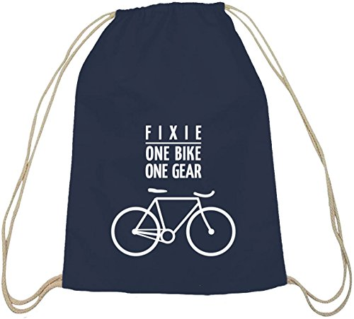Shirtstreet24, Fixie - One Bike, Singlespeed Fahrrad Baumwoll natur Turnbeutel Rucksack Sport Beutel dunkelblau natur