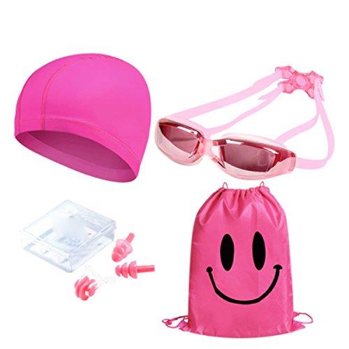 BUKUANG Familie Von Vier Männern Und Frauen Klarglasbrille / Beschichtung Kurzsichtigkeit Wassernebel Schwimmbrille Badekappe Ohr Nasenklammer Paket,400