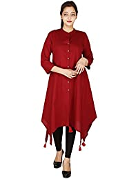 RainDrop Women's Rayon 3/4 Sleeve Banded Collar A-Line Pom Pom Kurti With Button Closure (RDRBRD-01 ; Red Color)