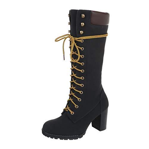 Hohe Schwarze Stiefel Kostüm - Ital-Design Damenschuhe Stiefel Schnürstiefel Synthetik Schwarz