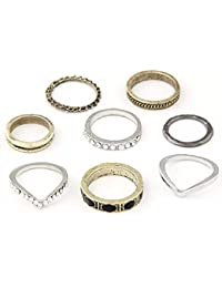 Cinderella Collection By Shining Diva Metal Golden & Silver Set of 8 Finger Ring for Girls & Women