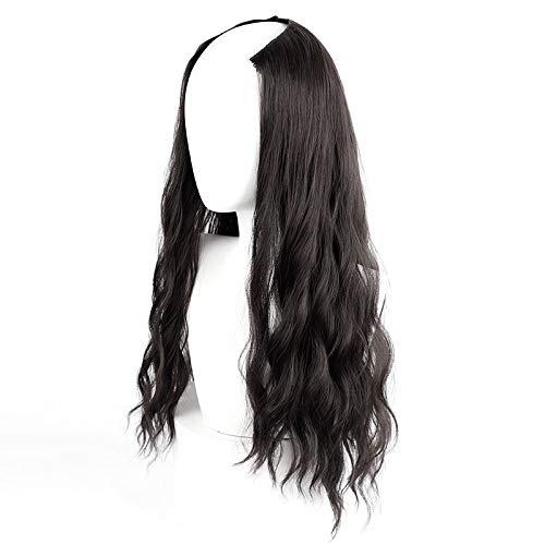 CXQ ondulation de l'eau morceau de cheveux longs u type femme long cheveux bouclés grosse vague net bulle rouge nouilles mignon invisible aucune trace de l'eau ondulation cheveux longs, brun noir