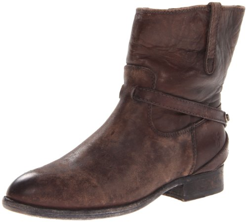 Frye Lindsay Plate Short Cuir Bottine Dark Brown