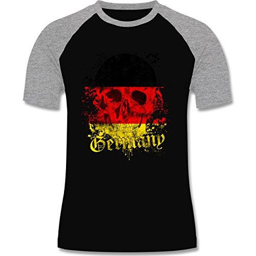 EM 2016 - Frankreich - Germany Schädel Vintage - zweifarbiges Baseballshirt für Männer Schwarz/Grau Meliert