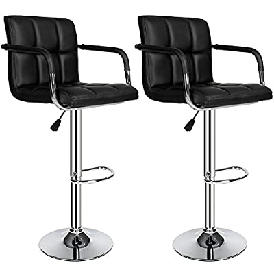 TecTake 2 Bar stools set faux leather kitchen breakfast stool dining room chair black - cheap UK bar stool shop.