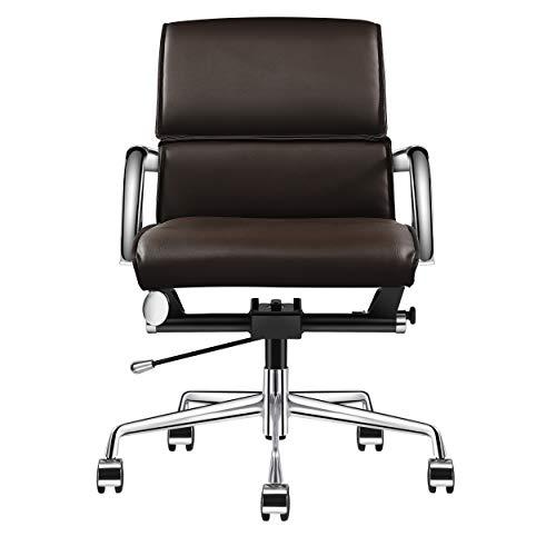 LUXMOD Bürostuhl mit Armlehne, verstellbarer Drehstuhl aus strapazierfähigem veganem Leder, ergonomischer Schreibtischstuhl für zusätzliche Rückenlehne und Lendenwirbelstütze, Dunkelbraun