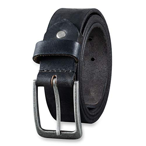 STILORD Rugged Buffalo Leather Belt for Men with Buckle with Thorn Buckle Vintage 34mm, size: 110, Color: black | antique buckle - silver