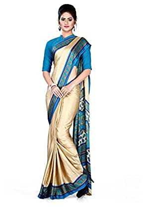Uniform Sarees Crepe Saree With Blouse Piece (47/015_Morpich Beige_Free Size)