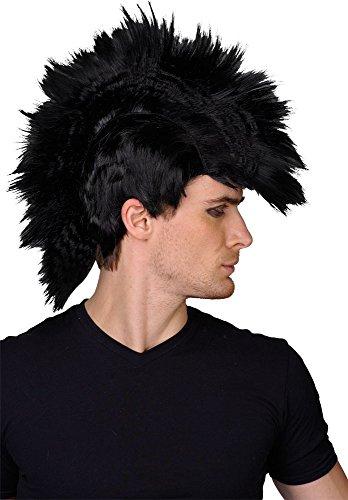 Schwarze Perücke Punk Rocker Mowhawk Halloween Verkleidung Kostüm Accessoire