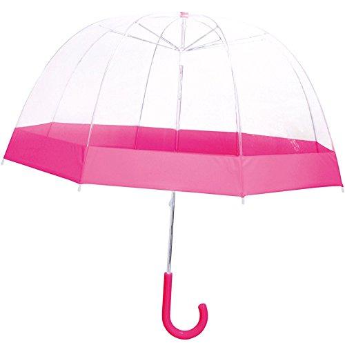 La chaise longue 36-1E-004P Parapluie Enfant Cloche Transparent liseré rose Poignée ergonomique Protection Anti-pincement, Transparent et rose