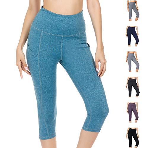 WateLves Damen Hohe Taille Sport Hose 3/4 Yoga Leggings Capri mit Tasche Jogginghose Stretch Workout Fitness(Hellblau, XXL)