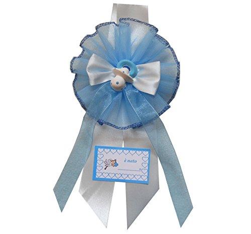 Fiocco nascita azzurro tondo con gessetto (ciuccio) dipinto a mano