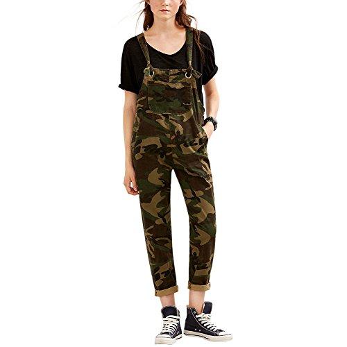iBaste Camouflage Latzhosen Damen Lang Jumpsuit Overall Hosen-M