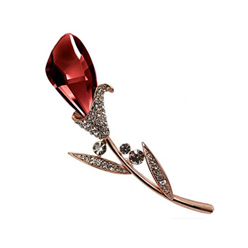 Kostüm Billig Broschen - Chinashow Frauen Strass Crystal Shining Brosche für Bräute Elegant Pin Broschen (Wein rote Blume)