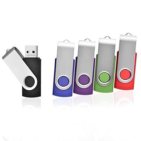 5pcs 8GB Swivel Design USB 2.0 Flash Drive Memory Stick (5 Mixed Colors: Black Blue Green Purple Red)