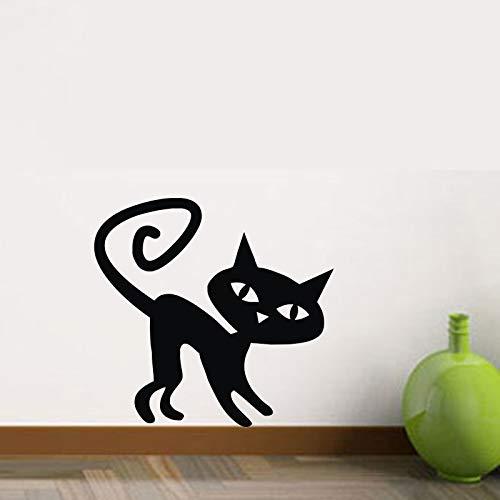 schwenken sie schwänzen katze wand aufkleber halloween - kinder platz mauer dekoration wandgemälde vinyl - kunst - schriftzug home decor tiere (Katze Schwanz Halloween)