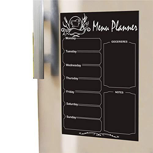réfrigérateur de rangement magnétique quotidien hebdomadaire Planning à repas réfrigérateur magnétique Tableau noir Taille de feuille (WXL) 30,5x 40,6cm Gocerieres Liste Menu Aimant effaçable à sec pour table de cuisine Diet Calendrier de planification