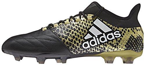 adidas X 16.2 Fg Leather, Scarpe da Calcio Uomo Nero (Core Black/ftwr White/gold Metallic)