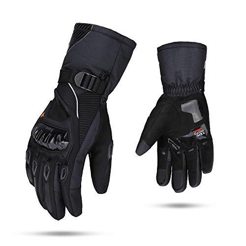 Winter Motorradhandschuhe, Motorrad Handschuhe Winter, Warm Handschuhe Touchscreen Handschuhe Wasserdicht Winddicht Sporthandschuhe (XL,Schwarz)