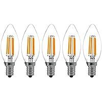 5-Pezzi C35 4W Dimmerabile Filamento Lampadina LED Candela - 2700K Bianco Caldo 400 lumen - 4W equivalente a 40W - Attacco E14 - Siluro Forma - 360° Angolazione Fascio Luce - 5 Pezzi[Classe di efficienza energetica A++]YT-C35-1