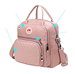 Lcy Designer Organizer Small Baby Nappy Changing Bag Tote Messenger Backpack Changing Bag--pink