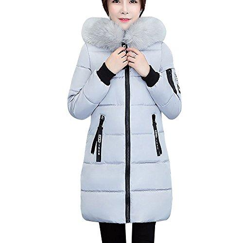 feiXIANG Damen Mantel Schlank Outwear Parka Verdicken Winterjacke Coat Trenchcoat Lang Outwear (Grau,M)