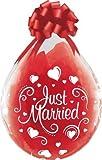 DeCoArt… Set Preis 2 Geschenkeballons Stufferballons Just Married Herzen ca. 45 cm naturell ohne Schleife ungefüllt und 10 Kleine Latexballons ca 13 cm Perl farbig Sortiert