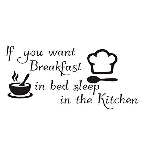 Lustige Küchenaufkleber Wenn Sie Frühstück Im Bett Decals Wand Vinyl Schüssel Kochmütze Diy Dekoration 59x28 cm möchten