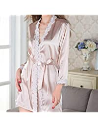 XQY Pijamas cómodos para el hogar Tienda de algodón con Bolsillos Albornoz Puntos Sleevesms Sección Delgada