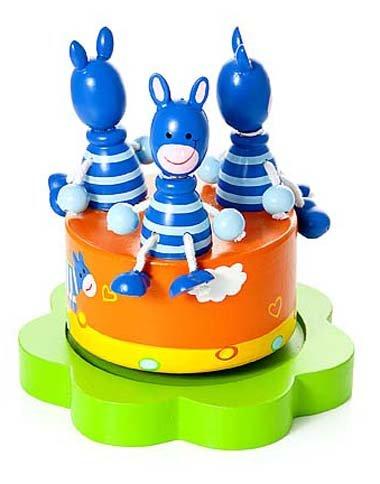 Baby Spieluhr Spieldose Holz mit Musik Safari Tier Zebra blau für Jungen und Mädchen