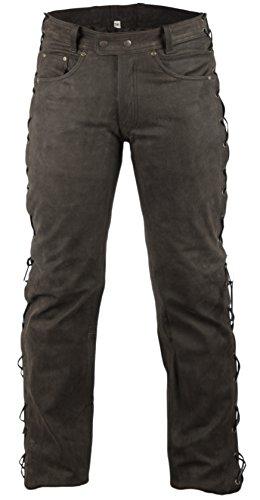 Lederhose Bikerlederhose Bikerjeans Lederjeans in Nubuk Leder seitlich geschnürt (40)
