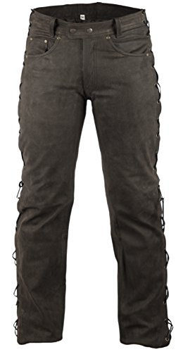 MDM Lederhose Bikerlederhose Bikerjeans Lederjeans in Nubuk Leder seitlich geschnürt (34)