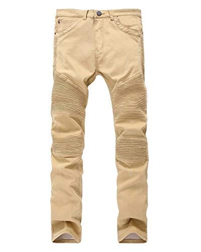 Herren Einfarbig Falten Hosen Mund Jeans Taille Jungen Vintage Niedrige Motorradhosen Freizeit Mode Jeanshose Pants (Color : Kaki, Size : 30)