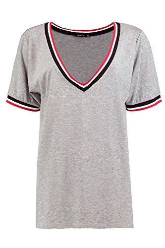 Gris Femmes Sophia T-shirt à décolleté en V côtelé Gris