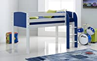Scallywag Kids Cabin Bed Shorty Narrow - White/Blue - Straight Ladder - Made In The UK.