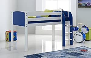 Scallywag Kids Cabin Bed 3FT Wide Shorty - White/Blue - Straight Ladder - Made In The UK.