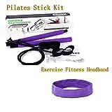 PEIN Kit per Barra di Pilates/Canna da Fitness Portatile Pilates Bar/Fascia Larga per Capelli Sportivi/per Esercizi per Palestra di Casa Allenamenti Fitness,E-Blue Pilates Stick